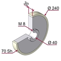 Picture of Ruota di traino gommata completa Ø240x30 mm 70 sh colore grigio siliceo RAL-7032