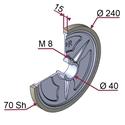Picture of Ruota di traino gommata completa Ø240x15 mm 70 sh colore grigio siliceo RAL-7032