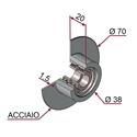 Picture of Ruota di pressatura metallica completa Ø70x20 sagomata sp.1.5 mm in acciaio con cuscinetti da un lato