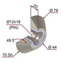 Picture of Ruota di pressatura gommata Trapezoidale completa Ø78x20 mm 70 sh colore grigio siliceo RAL-7032 con cuscinetti ambo i lati