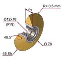 Picture of Ruota di pressatura gommata completa Ø78x20 mm 45 sh colore giallo zafferano RAL-1017 a punta R0,5 con cuscinetti da un lato