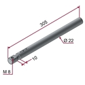 Picture of Asta CROMATA Ø22x305mm ammortizzata - corsa 10mm con filettatura M8 a 90°