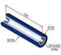 Picture of Ruota di pressatura per aste a forcella in materiale antiaderente termoresistente Ø55x200 mm 50 sh colore blu oltremare RAL-5002