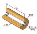 Picture of Ruota di pressatura per aste a forcella in materiale antiaderente termoresistente Ø70x150 mm 45 sh colore giallo zafferano  RAL-1017