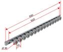 Picture of Gruppo guida profilo primerizzato L=550 mm con perni ruota 25 mm