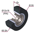 Picture of Ruota di pressatura in materiale antiaderente termoresistente Ø55x20 65 sh colore grigio antracite RAL-7016