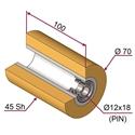 Picture of Ruota di pressatura per aste a forcella in materiale antiaderente termoresistente Ø70x100 mm 45 sh colore giallo zafferano RAL-1017