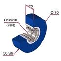 Picture of Ruota di pressatura in materiale antiaderente termoresistente Ø70x20 50 sh colore blu oltremare RAL-5002