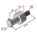 Picture of Perno nichelato per ruota di pressatura Ø12 mm lunghezza centrale = 12mm