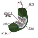 Picture of Ruota di pressatura in materiale antiaderente termoresistente Ø78x20 90 sh TRAPEZOIDALE colore verde foglia RAL-6002