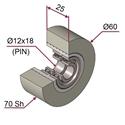 Picture of Ruota di pressatura in materiale antiaderente termoresistente Ø60x25 70 sh colore grigio siliceo RAL-7032