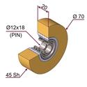Picture of Ruota di pressatura in materiale antiaderente termoresistente Ø70x20 45 sh colore giallo zafferano  RAL-1017