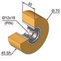 Picture of Ruota di pressatura in materiale antiaderente termoresistente Ø70x30 45 sh colore giallo zafferano RAL-1017