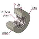 Picture of Ruota di pressatura in materiale antiaderente termoresistente Ø55x25 70 sh colore grigio siliceo RAL-7032