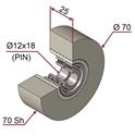 Picture of Ruota di pressatura in materiale antiaderente termoresistente Ø70x25 70 sh colore grigio siliceo RAL-7032