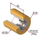 Picture of Ruota di pressatura in materiale antiaderente termoresistente Ø55x50 45 sh colore giallo zafferano  RAL-1017