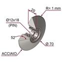 Picture of Ruota di pressatura metallica completa Ø70x20 in acciaio a punta R1 con cuscinetti da un lato