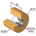 Picture of Ruota di pressatura in materiale antiaderente termoresistente Ø70x50 45 sh colore giallo zafferano  RAL-1017