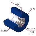 Picture of Ruota di pressatura in materiale antiaderente termoresistente Ø70x50 50 sh colore blu oltremare RAL-5002