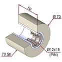 Picture of Ruota di pressatura in materiale antiaderente termoresistente Ø70x50 70 sh colore grigio siliceo RAL-7032