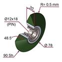 Picture of Ruota di pressatura gommata completa  Ø78x20 mm 90 sh colore verde foglia RAL-6002 a punta R0,5 con cuscinetti da un lato