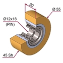 Picture of Ruota di pressatura in materiale antiaderente termoresistente Ø55x20 45 sh colore giallo zafferano  RAL-1017