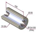 Picture of Ruota di pressatura per aste a forcella in materiale antiaderente termoresistente Ø55x100 mm 70 sh colore grigio siliceo RAL-7032