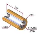Picture of Ruota di pressatura per aste a forcella in materiale antiaderente termoresistente Ø55x100 mm 45 sh  colore giallo zafferano RAL-1017
