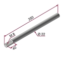 Picture of Asta ZINCATA Ø22x350mm con foro M8 a 90°