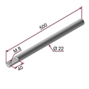 Picture of Asta ZINCATA Ø22x500mm con foro M8 a 90°