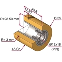Picture of Ruota di pressatura in materiale antiaderente termoresistente Ø55x48.8 45 sh SAGOMATA con cava centrale D=6mm colore giallo zafferano  RAL-1017