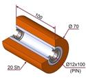 Picture of Ruota di pressatura per aste a forcella in materiale antiaderente termoresistente Ø70x100 mm 30 sh colore arancio puro RAL-2004