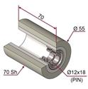 Picture of Ruota di pressatura in materiale antiaderente termoresistente Ø55x70 70 sh colore grigio siliceo RAL-7032