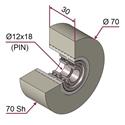 Picture of Ruota di pressatura in materiale antiaderente termoresistente Ø70x30 70 sh colore grigio siliceo RAL-7032