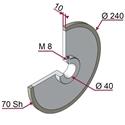 Picture of Ruota di traino rivestita con materiale antiaderente termoresistente - Ø240x10 mm 70 sh colore grigio siliceo RAL-7032 con blocco meccanico tramite grano M8