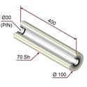 Picture of Rullo di pressatura in materiale antiaderente termoresistente Ø100x400mm 70sh colore grigio