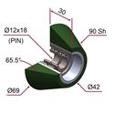 Picture of Ruota di pressatura in materiale antiaderente termoresistente Ø69x30 90 sh TRAPEZOIDALE verde foglia RAL-6002