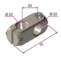 Picture of Morsetto doppio destro per aste diametro 22mm NICHELATO