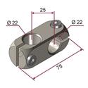 Picture of Morsetto doppio sinistro per aste diametro 22mm NICHELATO
