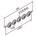 Picture of Guida profilo L=550mm con nr.5 ruote in materiale antiaderente termoresistente Ø80x9mm 70 sh e perni ruota 20mm