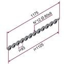 Picture of Guida profilo L=1175mm con nr.12 ruote in materiale antiaderente termoresistente Ø80x9mm 70 sh e perni ruota 20mm