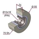 Picture of Ruota di pressatura in materiale antiaderente termoresistente Ø55x20 70 sh colore grigio siliceo RAL-7032