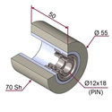 Picture of Ruota di pressatura in materiale antiaderente termoresistente Ø55x50 70 sh colore grigio siliceo RAL-7032