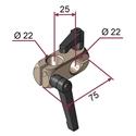 Picture of Morsetto doppio sinistro per aste diametro 22mm [NICHELATO] completo di maniglie