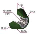 Picture of Ruota di pressatura in materiale antiaderente termoresistente Ø69x30 90 sh TRAPEZOIDALE con cuscinetti lato opposto colore verde foglia RAL-6002