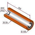 Picture of Rullo di pressatura in materiale antiaderente termoresistente Ø100x300mm 30sh colore arancione