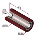 Picture of Rullo di pressatura in materiale antiaderente termoresistente Ø100x200mm 55sh colore rosso