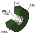 Picture of Ruota di pressatura in materiale antiaderente termoresistente Ø90x30 90 sh colore verde foglia RAL-6002